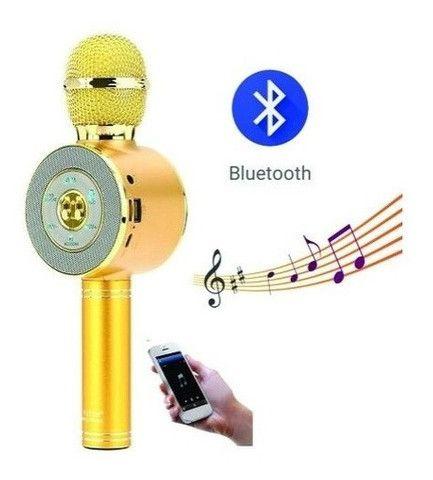 Microfone Sem Fio Karaokê Canta Play Back Usb Mp3 Pen Driver (Dourado)