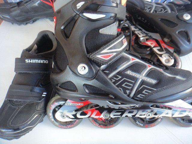 Patins Rollerblade SG7 e Tênis Shimano Pedaling (38) Seminovos