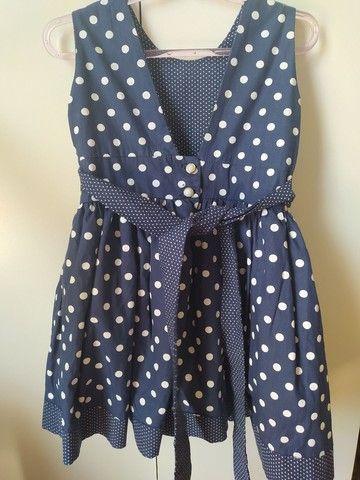 Vestido de festa azul de poá branco para bebê - Foto 2