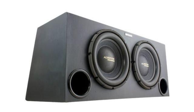 Caixa com 2 subwoofer audiophonic 12