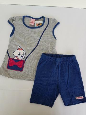 Conjunto Abrange blusinha cinza cachorrinho e shorts azul TAM 2 REF: 7523