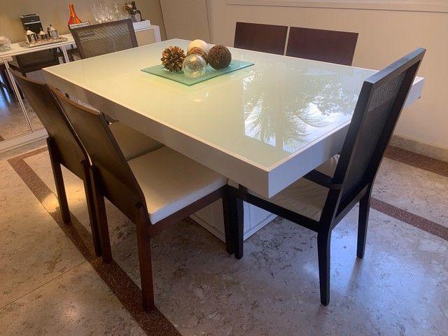 Jogo de Mesa de Jantar em Laca Branca 1,6 x 0.8 m - Foto 2