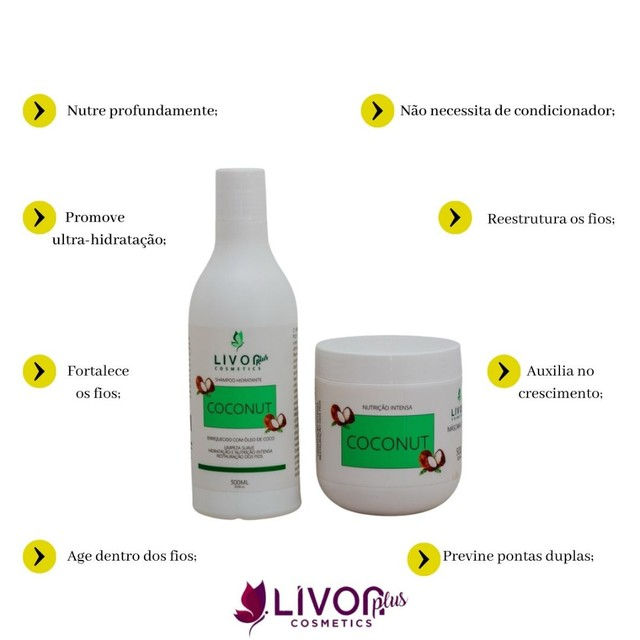 Kit Profissional para tratamento capilar Coconut 500g - Foto 2