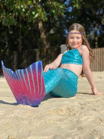 Cauda de sereia com nadadeira e Biquíni completo - Foto 2