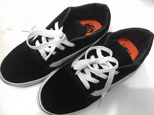 Tênis Vans Old Skool Preto branco Infantil Importado Novo - Artigos ... 86067c3d241