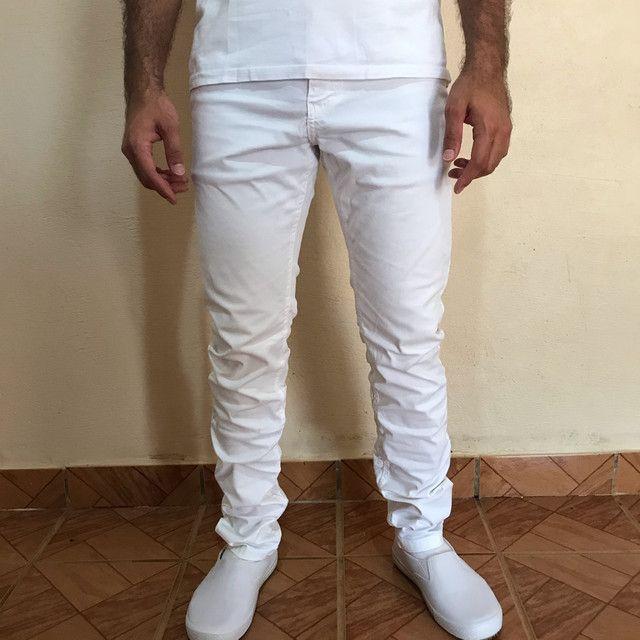 Calça branca jeans slim n 42