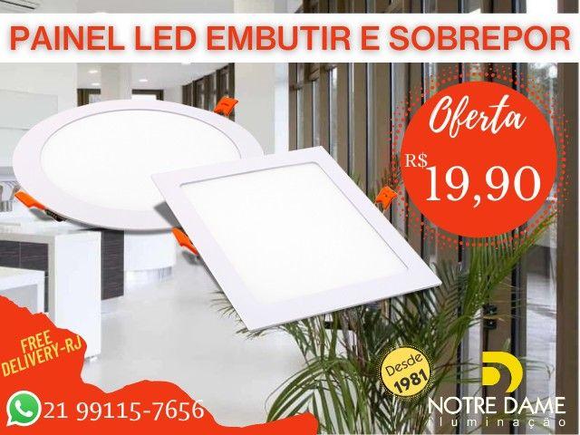 Luminária Plafon Painel led embutir/sobrepor quadrado/redondo temos todos os tamanhos