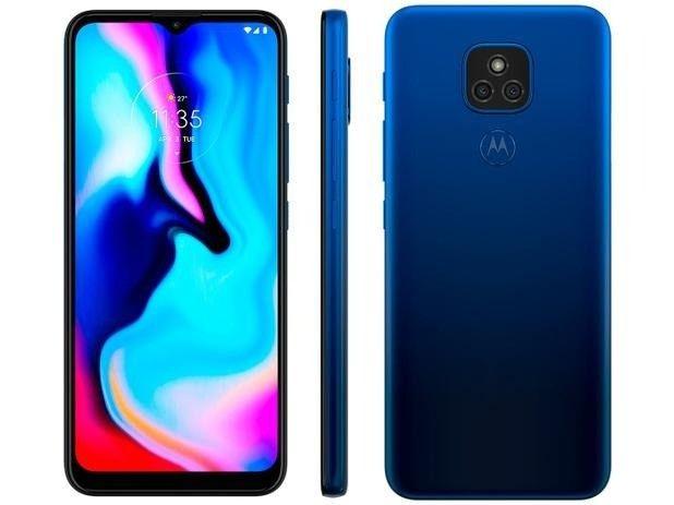 Smartphone Motorola Moto E7 Plus 64GB Azul Navy - 4g Octa-Core 4GB Ram sem nenhum arranhão