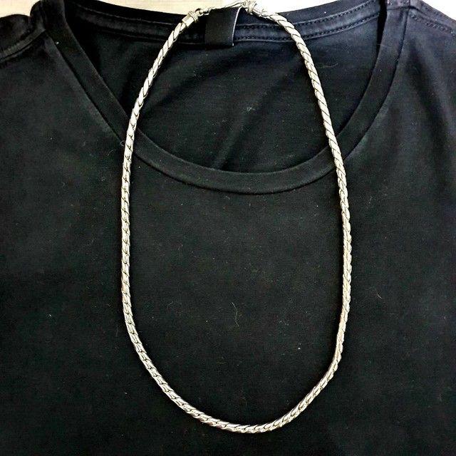 Cordão de Prata Bali Corrente Escama de Peixe 925 - Foto 2