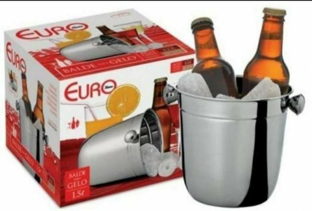 Novo! Na caixa! INOX! Balde e pegador de gelo - Euro Home - 1,5L - Foto 6