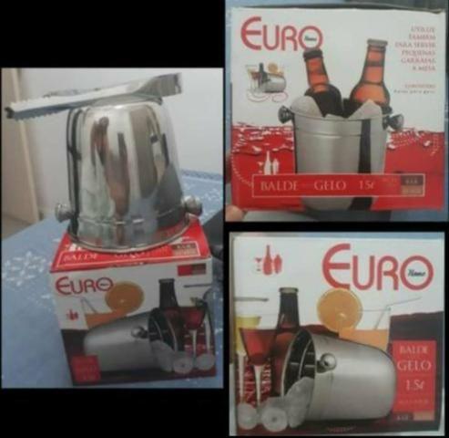 Novo! Na caixa! INOX! Balde e pegador de gelo - Euro Home - 1,5L - Foto 4