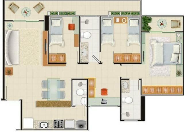 AP0357 - Apartamento 3 quartos, 84m² - Parquelândia - Fortaleza/CE - Foto 12