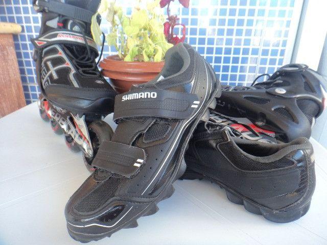 Patins Rollerblade SG7 e Tênis Shimano Pedaling (38) Seminovos - Foto 4