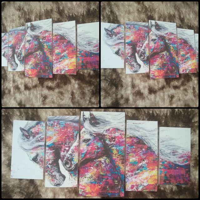 Quadro em mosaico cavalos com 5 peças