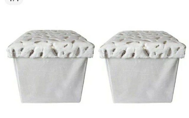 2 Puff Baú Estofado Porta Objetos Decorativo Tipo Caixa