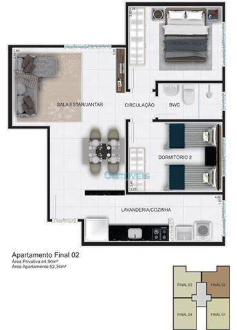 Apartamento com 2 dormitórios à venda, 44 m² por r$ 128.000 - thomaz coelho - araucária/pr - Foto 3
