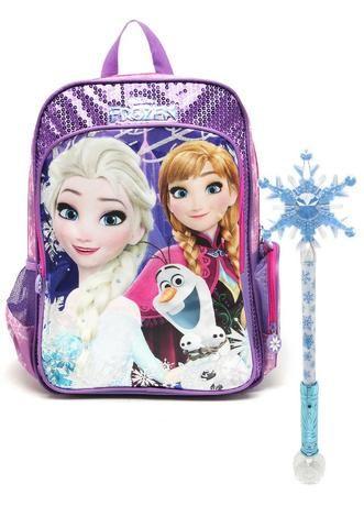Mochila Frozen com cetro luminoso Premium G DMW