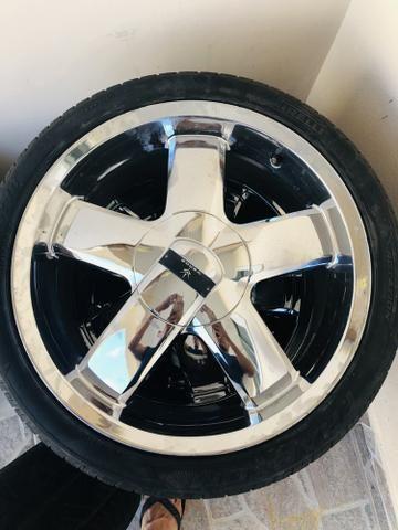 Rodas aro 18 cromados com pneus
