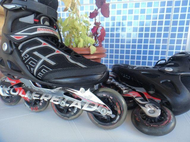 Patins Rollerblade SG7 e Tênis Shimano Pedaling (38) Seminovos - Foto 5