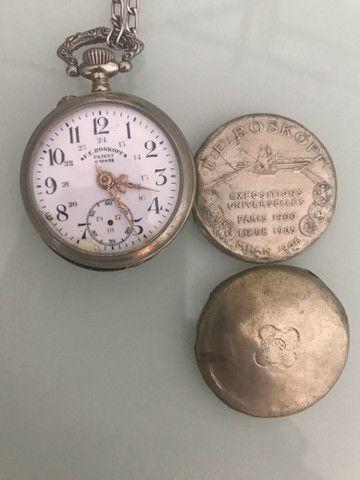 Relógio de bolso antigo Roskopf patente