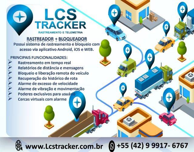 Rastreador + Sistema de Rastreamento LCS Tracker + Chip + Suporte Remoto