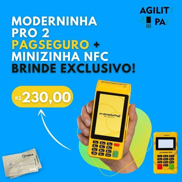 Máquina de Cartão Moderninha Pro 2 PagSeguro, Brinde Minizinha NFC, Parcelo o Valor em 12X