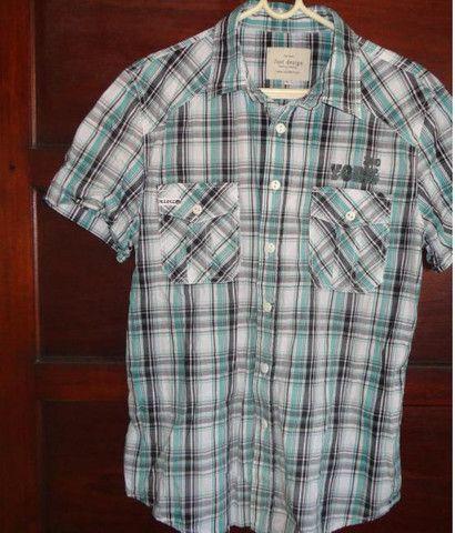 Camisa xadrez verde masculina - Foto 3
