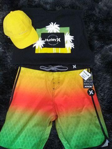 KiT Verão Bermuda Elastana Hurley, Boné, Camisa