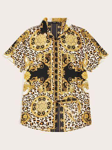 Camisa De Botão Masculina Shein - Estampa Grega - Tamanho GG