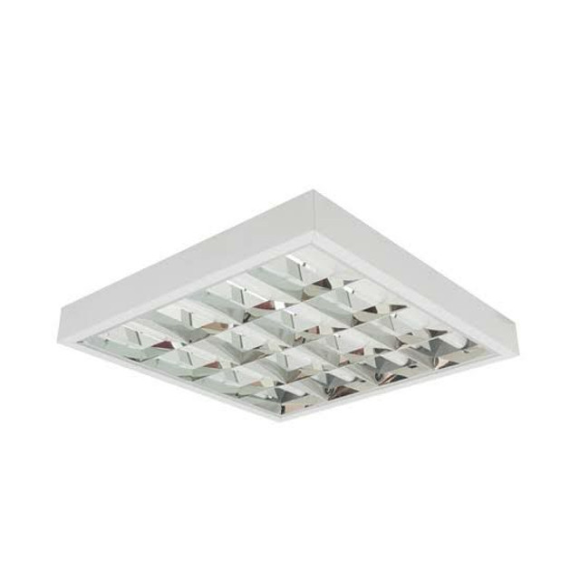 Luminária sobrepor p/4 lâmpadas tubular 60cm quadrada