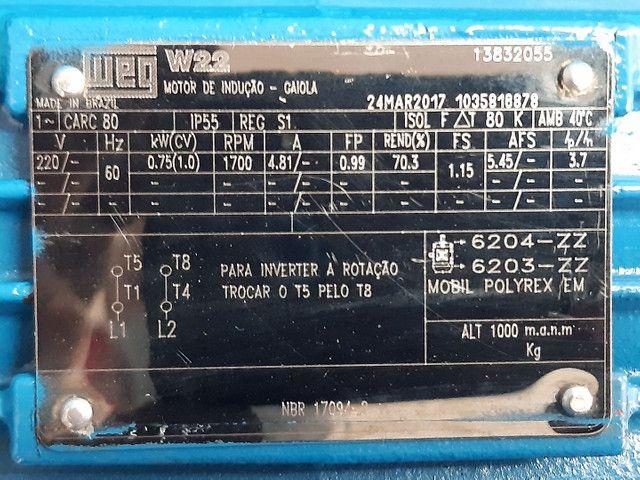 Motor monofásico 1 cv baixa rotação 1700rpm  voltagem 110/220 - Foto 3