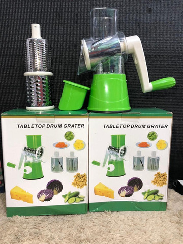 Cortador Tabletop Drum Grater Fatiador Legumes 3 Em 1 Inox