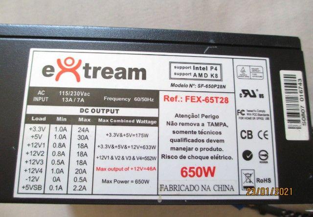 Fonte Extream Real 650W - ac tr - Foto 3