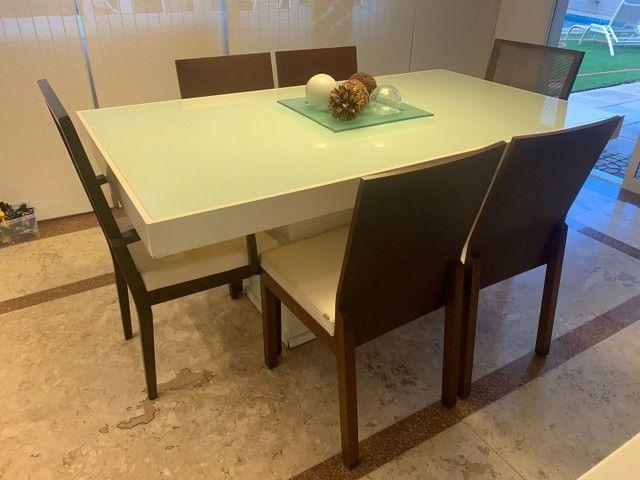 Jogo de Mesa de Jantar em Laca Branca 1,6 x 0.8 m