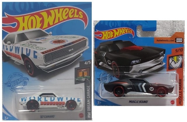 2 Carrinhos Hot Wheels Camaro 67 e Muscle Bound