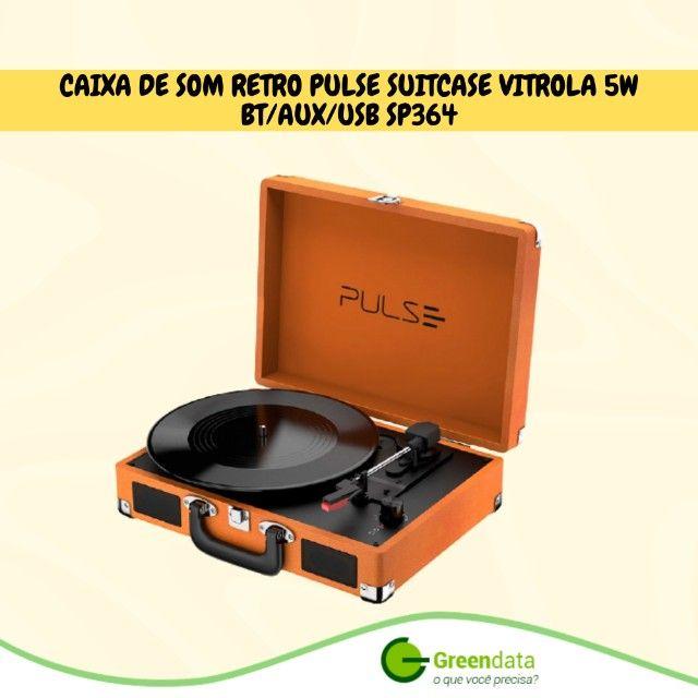 Caixa de som retro pulse suitcase Vitrola 5W Bt/Aux/Usb