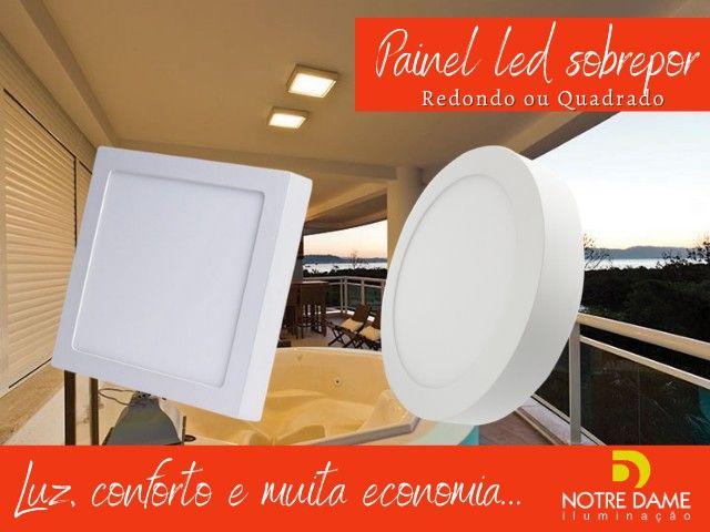Luminária Plafon Painel led embutir/sobrepor quadrado/redondo temos todos os tamanhos - Foto 2