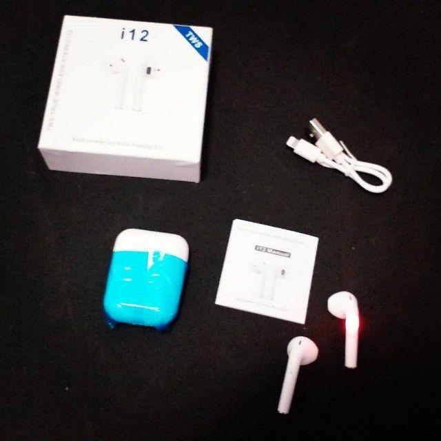 AirPod Fone de Ouvido sem fio, via Bluetooth, Marca TWS i12.(Novo)