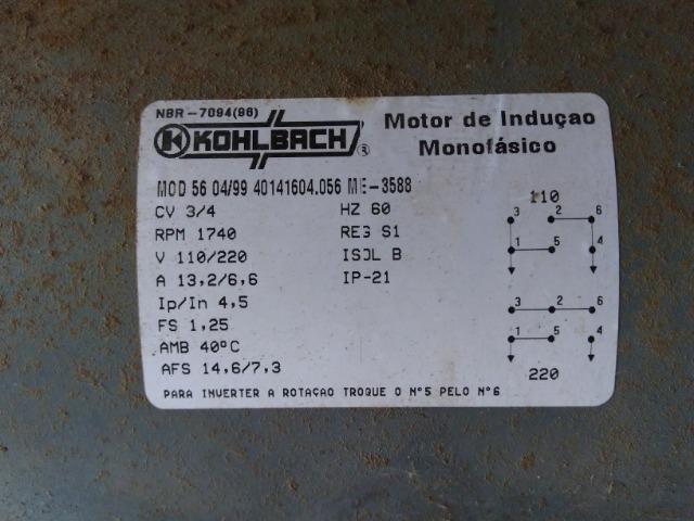 Motor elétrico monofásico 3/4 hp