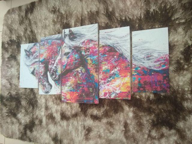 Quadro em mosaico cavalos com 5 peças - Foto 2
