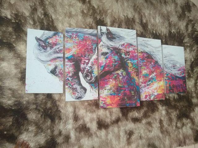 Quadro em mosaico cavalos com 5 peças - Foto 3