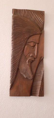 Quadro talhado na madeira Tema Jesus