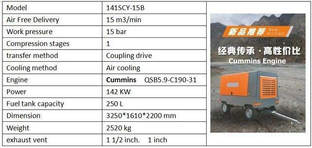 Compressor novo para poço 15 Bar, 550 Pcm, com motor cummins - Foto 2