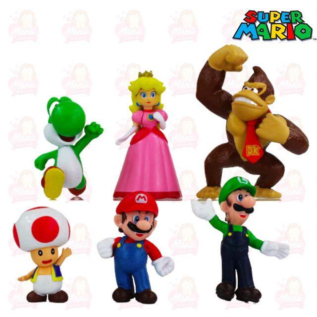 Kit com 06 personagens da turminha do super Mário