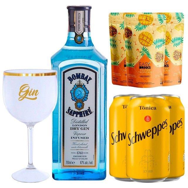 Gin Bombay Saphire 750ml + 3 Água Tônica + Frutas Tropicais