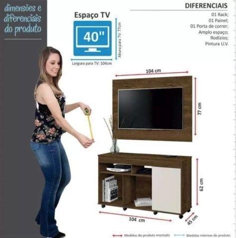 Rack com Painel Vision TV Até 40 '' com Rodízios - Foto 3