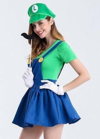 Fantasia Luigi (Mario) feminino completa PP - Roupas e calçados ... 296eb62d766