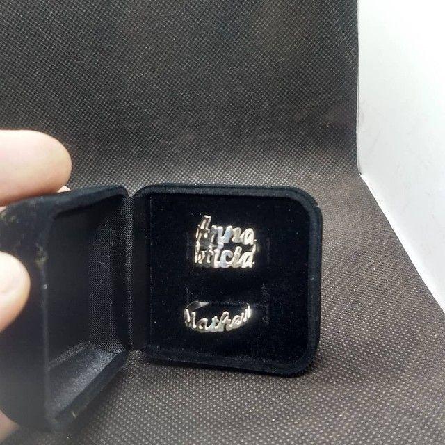 Anel com nome prata 950 - Foto 4