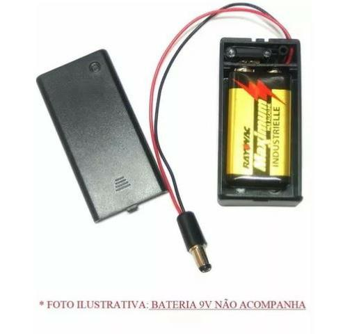 COD-CP21 Caixa Case Suporte Bateria 9v Chave On/off + Pino Ac Arduino Automação Robotica