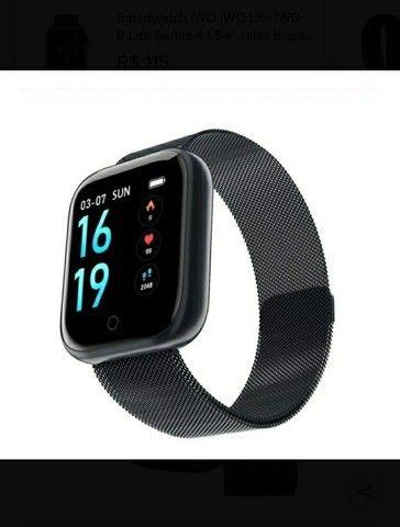 Relógio SmartwatchP70 com 2 pulseiras (aço/silicone) pretas.<br><br> - Foto 3